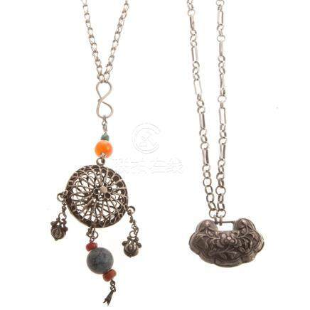 Two Chinese Qing Dynasty Silver Necklaces