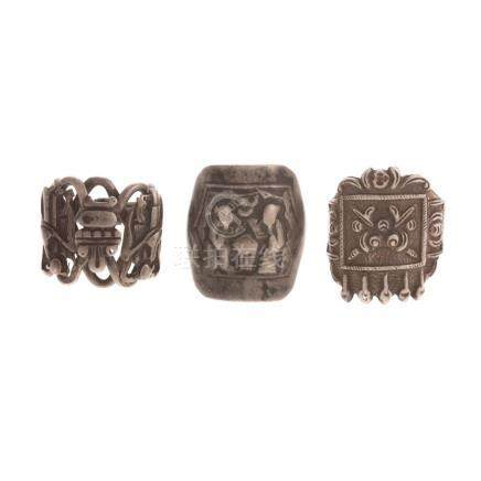 Three Chinese Qing Dynasty Silver Opera Rings
