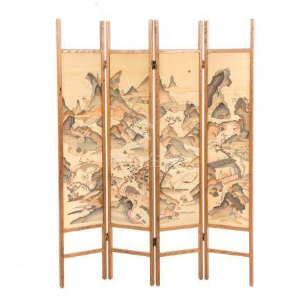 Chinese Embroidered Four-Panel Screen