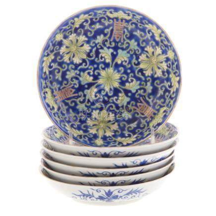 Six Chinese Porcelain Saucers