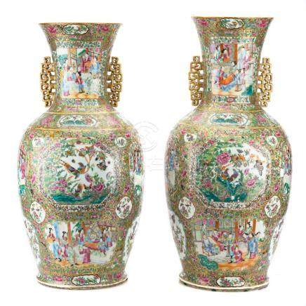 Pair Chinese Export Rose Mandarin Palace Vases
