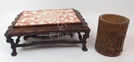 A CHINESE HARDWOOD RECTANGULAR LOW STAND carved as faux bamboo, 33cm wide x 25cm deep x 12cm high