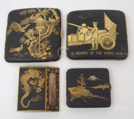 A JAPANESE NIELLO CIGARETTE CASE 'In Memory of the World Wide War', 9cm wide, another with bird