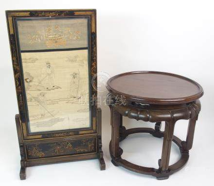 A CHINESE SILK TABLE SCREEN woven with figures on islands and a sampan beneath a jardiniere of