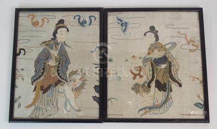 A PAIR OF CHINESE SILK EMBROIDERED PANELS each with a lady with a kylin or monkey surrounded by
