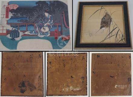 A JAPANESE WATERCOLOUR OF A WATER BIRD amongst reeds, signed, 23cm x 23cm, a woodblock print of a