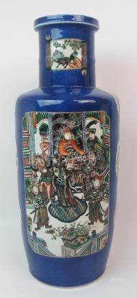A CHINESE ROULEAU BLUE GROUND VASE with famille verte panels of court, landscape, birds, flowers and