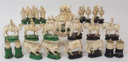 AN EAST INDIAN IVORY CHESS SET probably Berhampore, one set with black stained bases lacking two