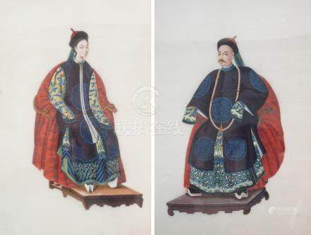 A PAIR OF CHINESE ANCESTOR PORTRAITS OF A MANDARIN AND CONSORT each seated on a throne and wearing