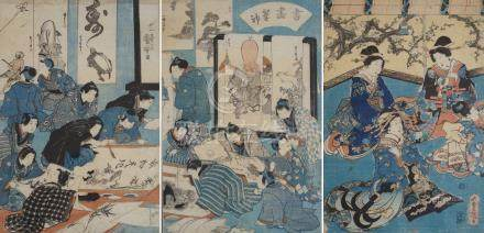 THREE JAPANESE WOODBLOCK PRINTS depicting scroll painters and ladies seated before a screen, 36cm