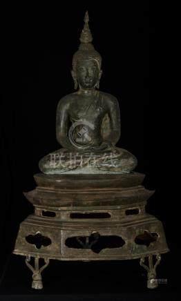 19th Century Thai Sukhothai Meditation Buddha on Pedestal