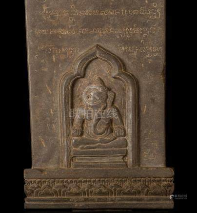 12th-13th Century Angkor Stele Ganesha & Teaching Buddha Sta