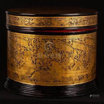 19th Century Burmese Lacquerware Monks Robe Box