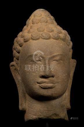 17th-18th Century Thai Dvaravati Stone Buddha Head Statue