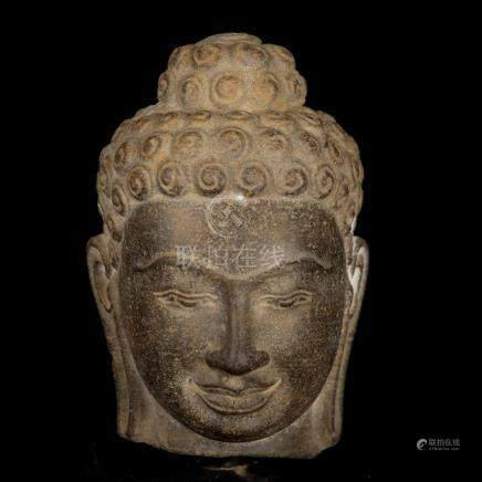 17th-18th Century Stone Ghandara Buddha Head