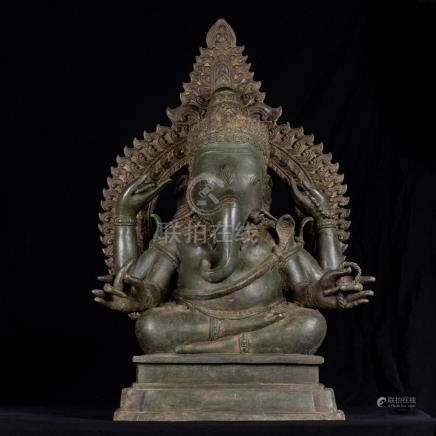 19th Century Thai Bronze Seated Ganesha Statue