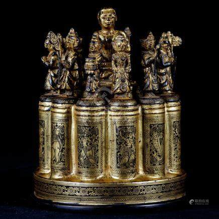 19th Century Antique Burmese Shwe Zawa Lacquerware Medicine