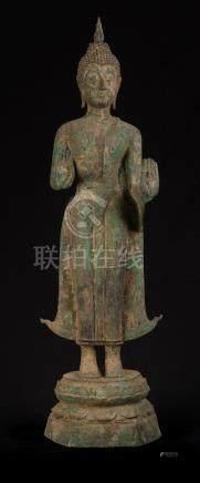 18th Century Laos Bronze Double Abhaya Protection Buddha