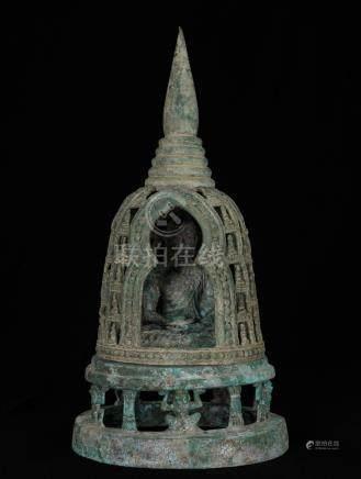 19th Century Caged Ghandara Indian Buddha in Meditation Mudr