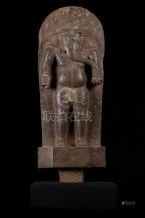 18th Century Vietnamese Cham Stone Stele Ganesha Statue - On