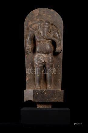 18th Century Vietnamese Cham Stone Stele Ganesha Statue - Tw