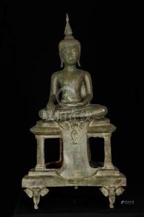 18th Century Laos Enlightenment Buddha on Elephant Throne