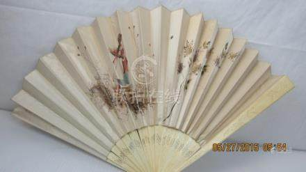 19th Century Chinese Silk and Ivory Hand Fan