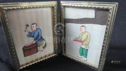 Pair of Chinese Qing Dynasty Silk Paintings