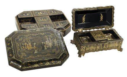 Two Chinese Export Gilt and Black-Lacquered Boxes