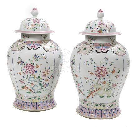 Pair of Large Famille Rose Porcelain Temple Jars