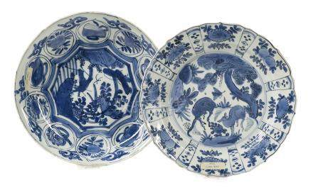 Two Chinese Blue and White Porcelain Dishes