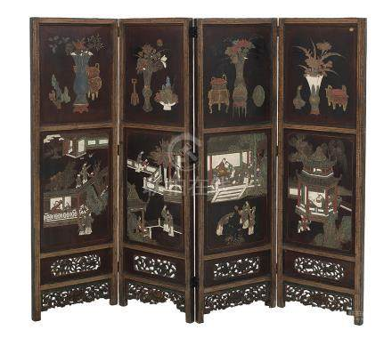 Chinese Four-Panel Coromandel Screen