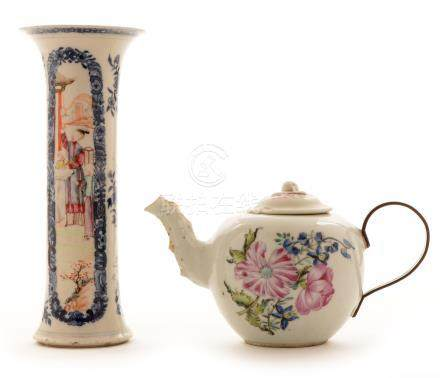 Chinese sleeve vase; and Chinese teapot.