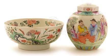 Chinese Famille Rose jar and cover; and a restored bowl