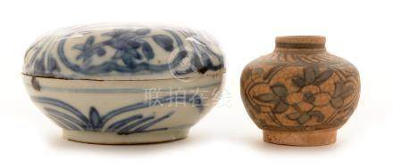 Chinese porcelain Swatow ware jar and cover; and a blue and white jar.