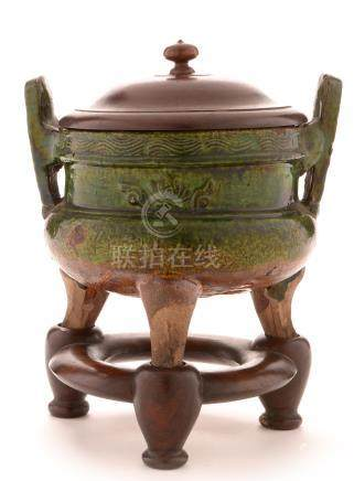 Chinese green glazed earthenware censer