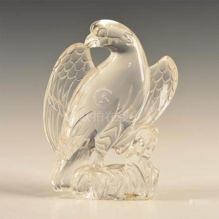 CHINESE CARVED ROCK CRYSTAL FIGURAL EAGLE ON ROCK