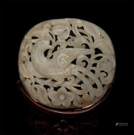 CHINESE RETICULATED JADE PLAQUE