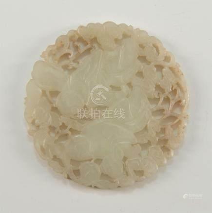 CHINESE WHITE JADE CIRCULAR MEDALLION PLAQUE, HEHE ERXIAN IMMORTALS