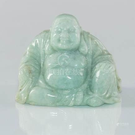 CHINESE CARVED JADE RECUMBENT LAUGHING BUDDHA