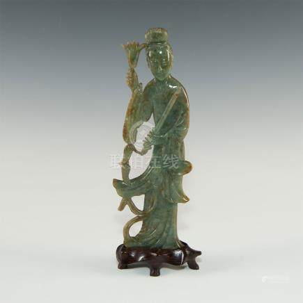 CARVED JADEITE GUANYIN FIGURAL STUDY ON WOOD STAND
