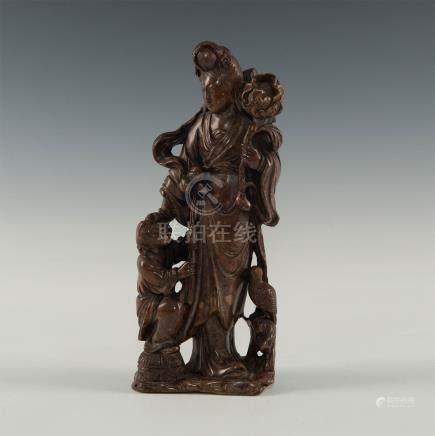 CHINESE SOAPSTONE GUANJIN WITH CHILD