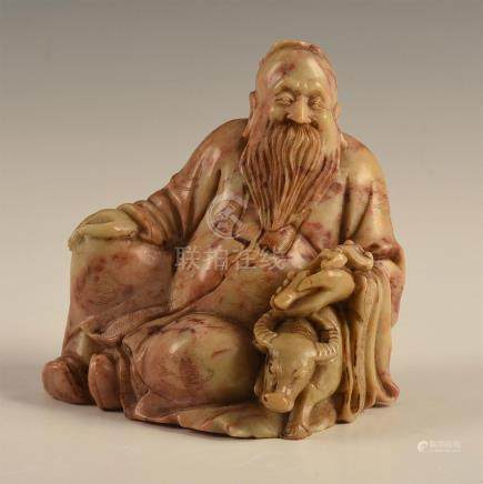 CHINESE CARVED SOAPSTONE FIGURAL SCHOLAR AND OX