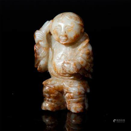 CHINESE JADE CARVED LIU HAI, ATTRIBUTED TO MING DYNASTY