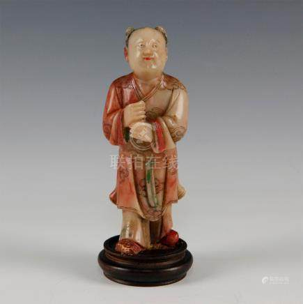 CARVED SOAPSTONE FIGURAL CHINESE BOY ON A WOODEN BASE
