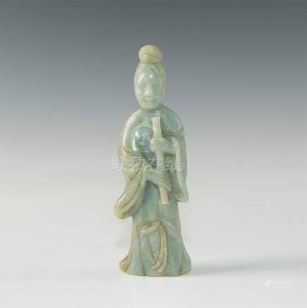 CHINESE CARVED JADE FIGURAL STUDY GUANYIN