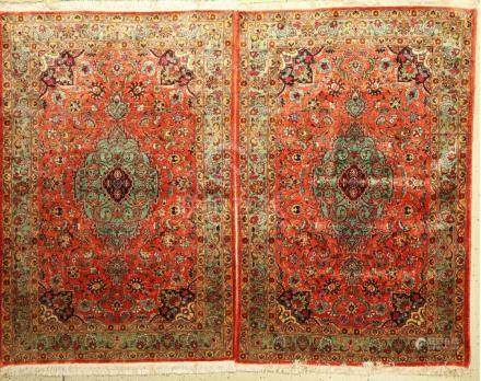 1 pair of silk Tabriz Rugs old, Persia, approx. 60