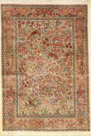 Silk Qum rug very fine, China, approx. 40 years, pure