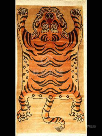 Tiger rug, Nepal, approx. 50 years, wool on cotton