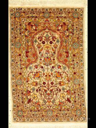 Hereke silk rug sign, Turkey, approx. 30 years, pure